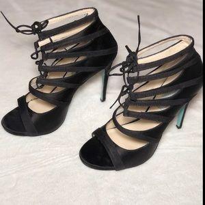 Betsey Johnson SB-Mila Caged Lace up Satin Heels